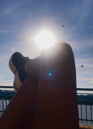 pretty little things, sneakers, sun, hudson river, riverbank state park, nyc, harlem