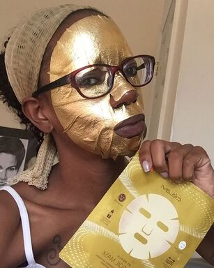 gold foil sheet mask, self care, alexcina brown