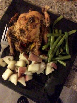 cornish hen, green beans, roasted potatoes
