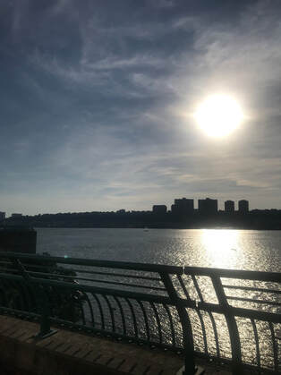 hudson river, riverbank state park, nyc, harlem, sunset