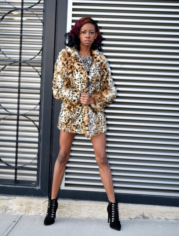 print model, alexcina brown in faux fur