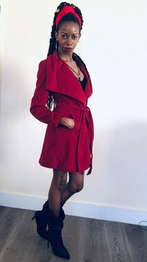Fall jacket, alexcina brown, fashion, thrifting, style, boots, black blogs, red coat
